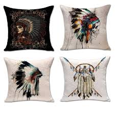 indian headwear sugar skull cushion cover cotton linen