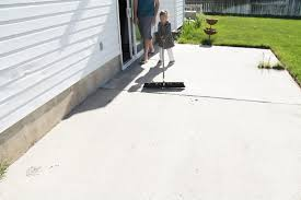 Removing Paint From Concrete Steps by How To Stain A Concrete Patio Chris Loves Julia