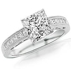 2 carat white gold engagement ring 2 carat 14k white gold channel set princess cut engagement
