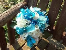 Tiffany Blue Flowers Real Touch Rose Blue Cascading Silk Bridal Bouquet Aqua Blue