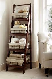 Shelves For Towels In Bathrooms Bathroom Accessories Standing Wooden Ladder Shelf Bathroom