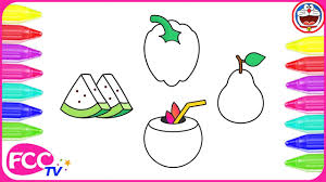 how to color u0026 learn to draw fruits coconut watermelon