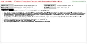 Supervisor Job Resume by Building And Grounds Supervisor Job Title Docs