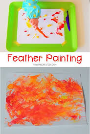 painting with feathers sensory activities thanksgiving and