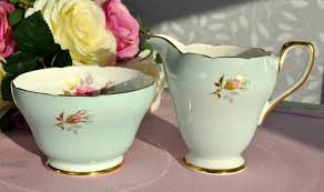 sutherland duck egg blue and pink creamer and sugar bowl