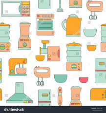 Style Of Kitchen Design Vector Line Kitchen Appliances Background Simple Stock Vector