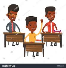 Picture Of Student Sitting At Desk Student Raising Hand Classroom Answer Student Stock Vector