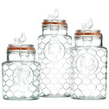 rooster kitchen canister sets home essentials glass rooster kitchen canister set 3 containers