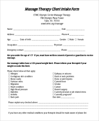 massage intake form template free cried info