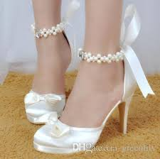 wedding shoes white 2017 white wedding shoes with bowknot crystals pearl comfortable