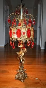 Teardrop Floor Lamp Vintage Cherub Lamp With Red Teardrop Prisms And Velvet Inserts