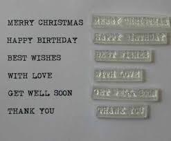 set of 6 typewriter font sentiment stamps