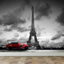 wall mural eiffel tower in paris and retro red car peel and zoom