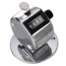 round base 4 digit manual hand tally mechanical palm click counter