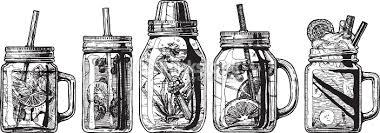 cocktails in mason jar and shaker vector art thinkstock