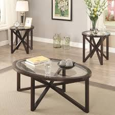 coaster 701004 cappuccino 3 pc occasional table set with glass tops