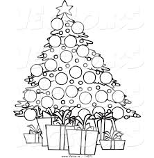 vector of a cartoon christmas tree and gifts coloring page