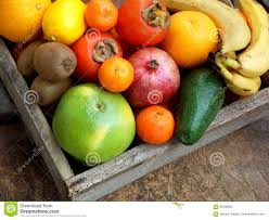 composition of mix colored tropical and mediterranean fruits on