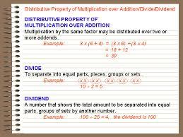 distributive property of multiplication over addition divide dividend