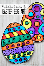 Easter Decorations Ks1 by Black Glue And Watercolor Resist Easter Egg Art Egg Art Easter