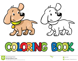 funny puppy coloring book stock vector image 65372351