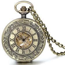 pendant pocket watch necklace images Boniskiss antique bronze hollow case retro roman numerals dial mechani jpg