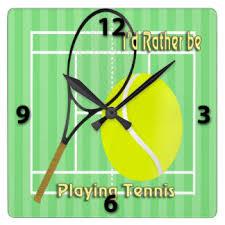 play tennis wall clocks zazzle