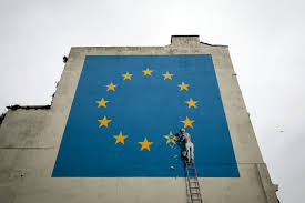 Green Flag With Star And Moon Banksy Mural Takes On Brexit With Star Removed From Eu Flag Time