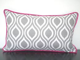 grey and pink pillow cover 20x12 gray lumbar for desk chair