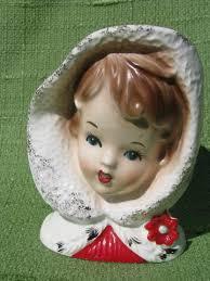 Vintage Lady Head Vases Vintage Lady Head Vase Christmas In Hood Inarco Japan