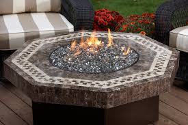 patio fire pit glass beads with rectangular table configuration on