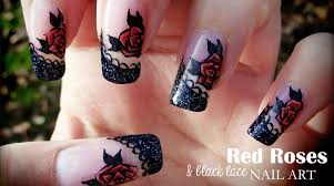 red roses u0026 black lace nail art youtube
