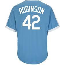 bud light baseball jersey men s majestic jackie robinson light blue brooklyn dodgers cool base
