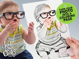 receive a customized coloring page from your photo as a jpeg