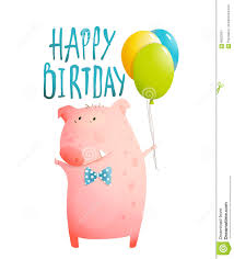 pig greeting happy birthday card for children stock vector image