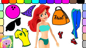 go bowling with ariel learn names of colors and clothes fun