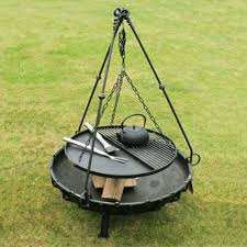 Bbq Firepit Decor Black Metal Pit Accessories With Tripod Cooking Stand