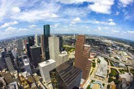 aerial of modern buildings in downtown houston in daytime stock
