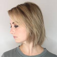 long bangs and a chic bob for very fine straw blonde hair bobs