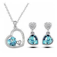 blue crystal necklace set images Buy crunchy fashion blue crystal pendant set for women online at jpg