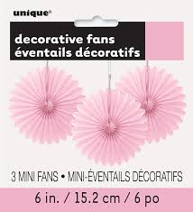 3 pretty pale pink paper fans hanging decoration easter party