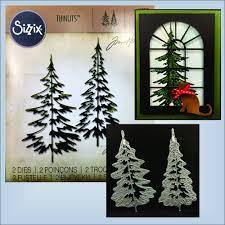 pine trees dies sizzix thinlits die set 2pk woodlands 660978