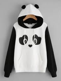 panda sweater panda print pom pom detail hoodie shein sheinside