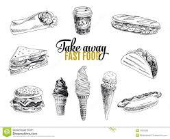 vector set of fast food illustration in sketch stock vector