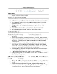 Resume Job Description by Cover Letter Job Description Hospital Medical Assistant Resume