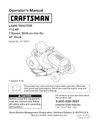 craftsman lawn mower 28911 user guide manualsonline com