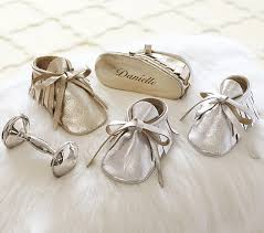 keepsake baby gift silver gold metallic keepsake booties pottery barn kids