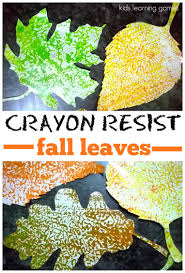fall craft for kids wax paper resist leaves crayons autumn