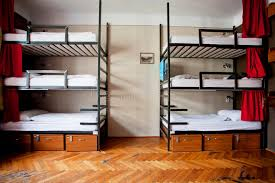 Bunk Beds For Three Three Level Dormitory Beds Inside The Hostel Room For Six
