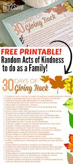 30 days of giving back free thanksgiving acts of kindness